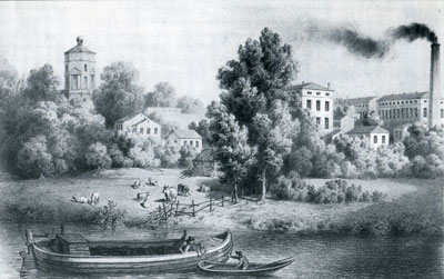 Jericho meadows around 1850. Behind, left to right, are the Radcliffe Observatory, the Jericho Tavern and the smokestack of Oxford University Press.
