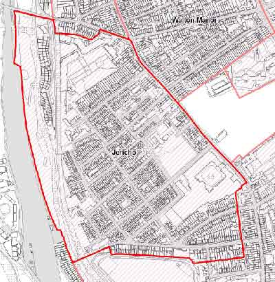 Outlined in red is the Jericho Conservation Area. Note that some houses in Walton Street and elsewhere were already part of existing neighbouring conservation areas.