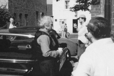Kevin Whately (Sergeant Lewis, left) and John Thaw (Inspector Morse, centre) during the filming of The Dead of Jericho.