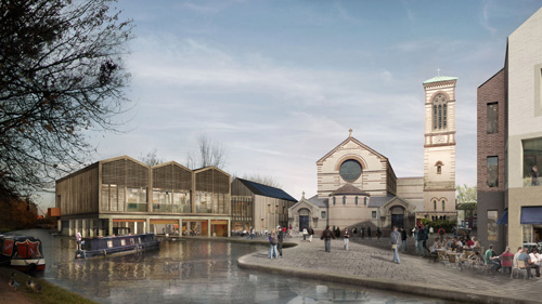 Artist's impression of the proposed development. To the left is the boatyard, above which is the hall of the community centre.