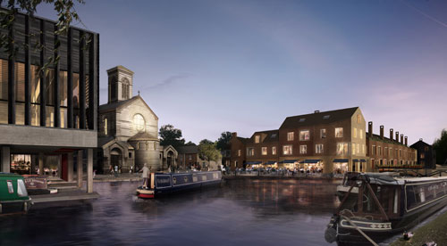Left, the boatyard docks with community centre hall above. Centre the winding hole for turning boats, the public square and the bridge. Right the restaurant and housing.