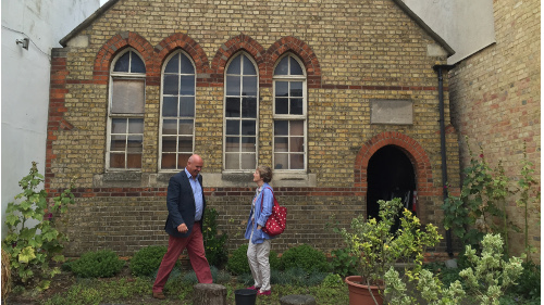 Somerville Treasurer, Andrew Parker, and JCA Chair Charlotte Christie at the old school.