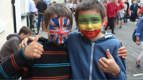 <p>UK and &#8216;reggae&#8217; flags on display at the Jericho Street Fair</p>