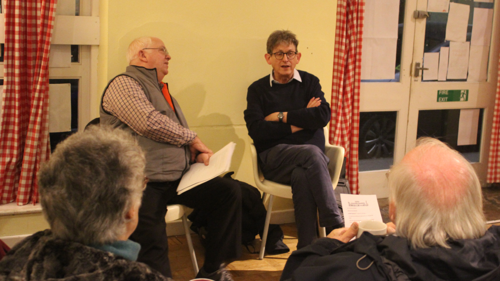 <p>Alan Rusbridger (centre right) former Guardian editor, now president of LMH, talking at My Jericho</p>
